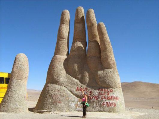 A Sculpture Of A Giant Hand In Atacama Desert, Chile