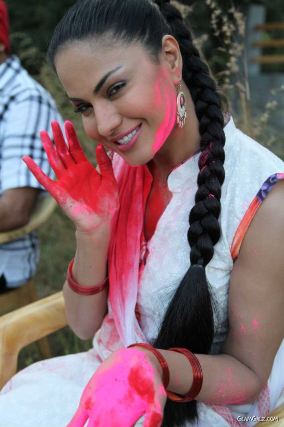 Veena Malik Celebrating Holi